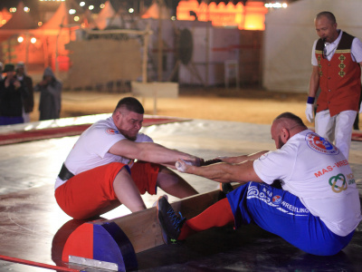 Oleh Sylka from Ukraine became the absolute mas-wrestling world champion in Saudi Arabia